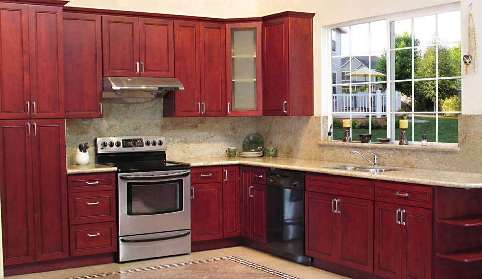 maroon kitchen cabinets