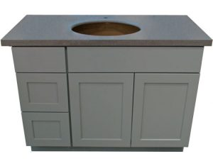 "Arctic Shaker Gray 42"" vanity with Left side drawers"