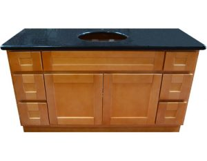 "Honey Spice 60"" vanity with side drawers"