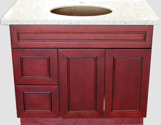 "Cherry Burgundy 36"" vanity with left side drawers"