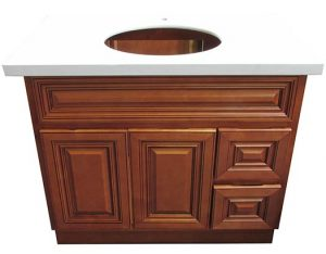 Chocolate vanity with right side drawers